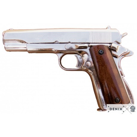 Denix 1227/NQ Colt 45 M1911 Automatic Gun Nickel Finish