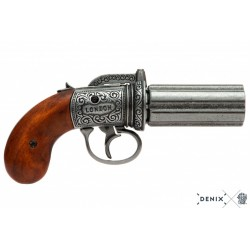 Denix 1071 6 barrels Pepper-box revolver, England 1840