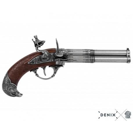 Denix 1306 Revolving 3 barrel flintlock pistol, France 18th. C.