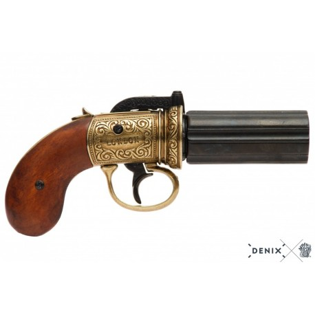 Denix 5071 6 barrels Pepper-box revolver, England 1840