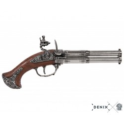 Denix 1308 Revolving 2 barrel flintlock pistol, France 18th. C.