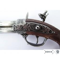 Denix 1308 Revolving 2 barrel flintlock pistol, France 18th. C.