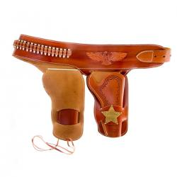 Denix 722 Western leather holster with badge and bullets